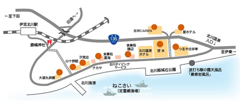 北川温泉施設マップ